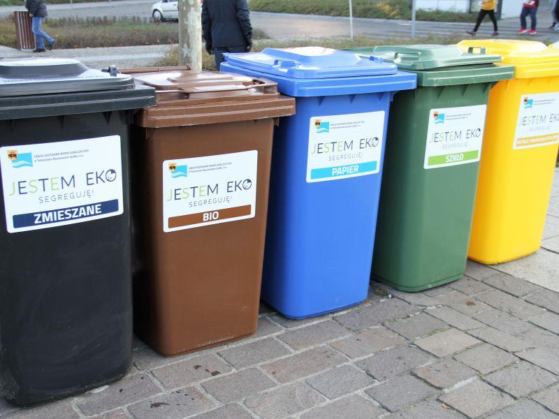 Na zdjęciu widać pojemniki na smieci: szary, brązowy, niebieski, zielony i żółty