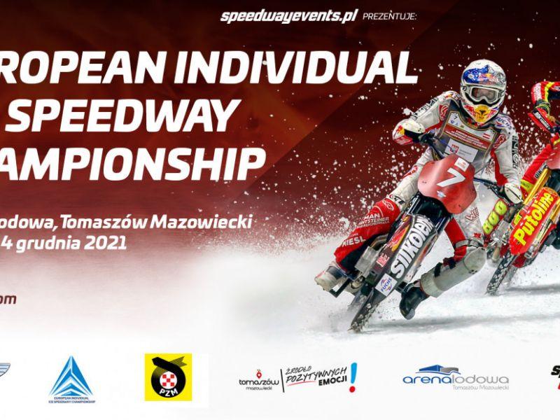 Na zdjęciu baner European Individual Ice Speedway Championship w Arenie Lodowej. Na banerze dwaj żużlowcy podczas wyścigu na lodzie