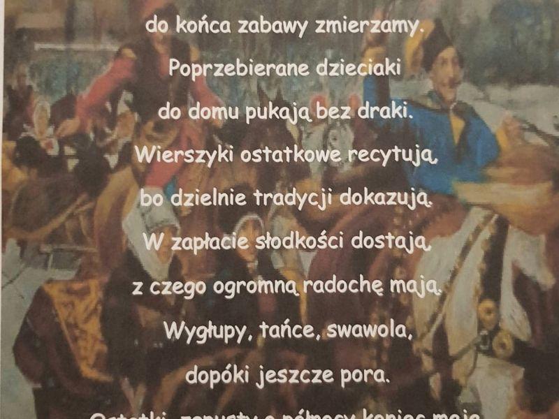 Na zdjęciu kartka z wierszykiem, który zwyciężył w konkursie na
