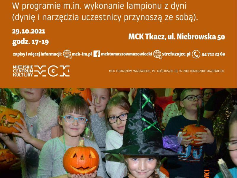 Na zdjęciu plakat imprezy dla dzieci w MCK. na plakacie zdjęcie dzieci z halloweenowymi dyniami w rekach