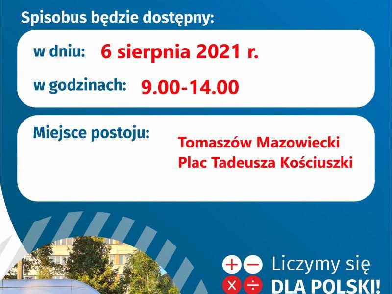 Na zdjęciu plakat ze spisobusem, w którym można dokonać spisu w ramach NSPLiM. Na zdjęciu bus- spisobus.