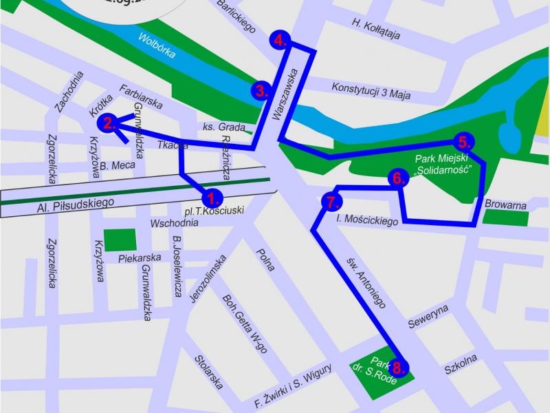 Zdjęcie przedstawia plan miasta Tomaszowa Mazowieckiego z wytyczonymi ulicami miasta. Na palanie logo gry miejskiej