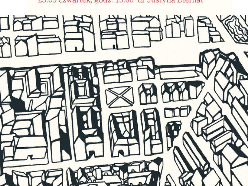 Na zdjęciu plakat lekcji otwartej w MBP. Na plakacie rysunek tomaszowskiego getta widzianego z lotu ptaka