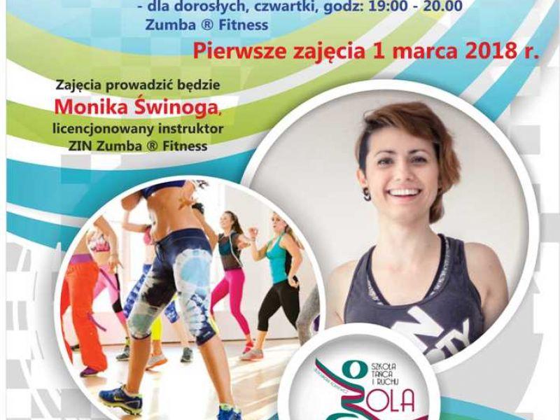 plakat informacyjny, Dzielnicowy Ośrodek Kultury, zajęcia Zumba Fitness