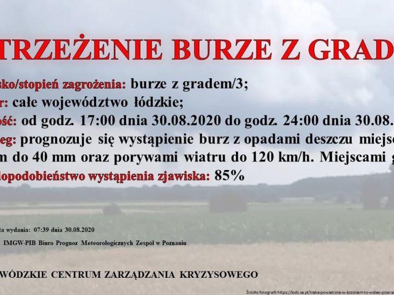 Grafika z ostrzeżeniem: w tle zdjęcie pola, a na nim treść ostrzeżenia. Tytuł napisany dużymi czerwonymi literami.
