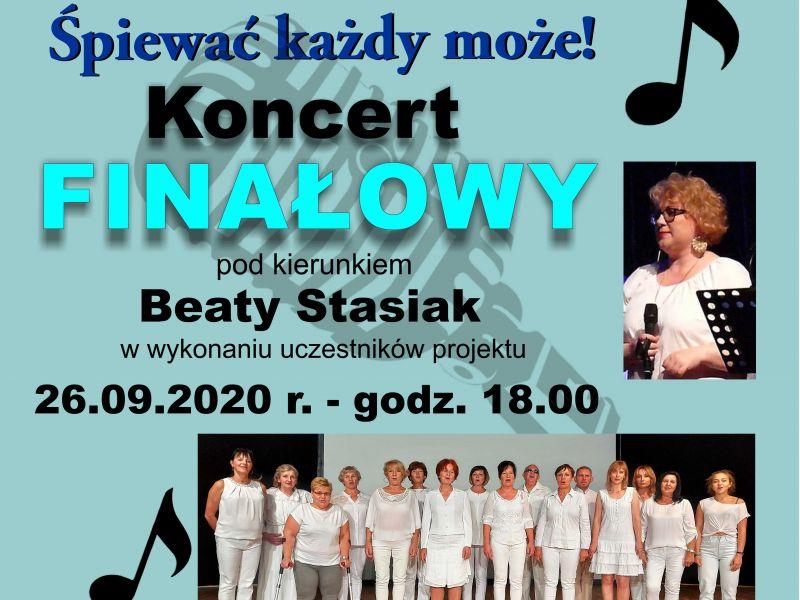Plakat, na plakacie zdjęcie chóru gospel składającego się z uczestników warsztatowego projektu Miejskiego Centrum Kultury, data i godzina rozpoczęcia koncertu