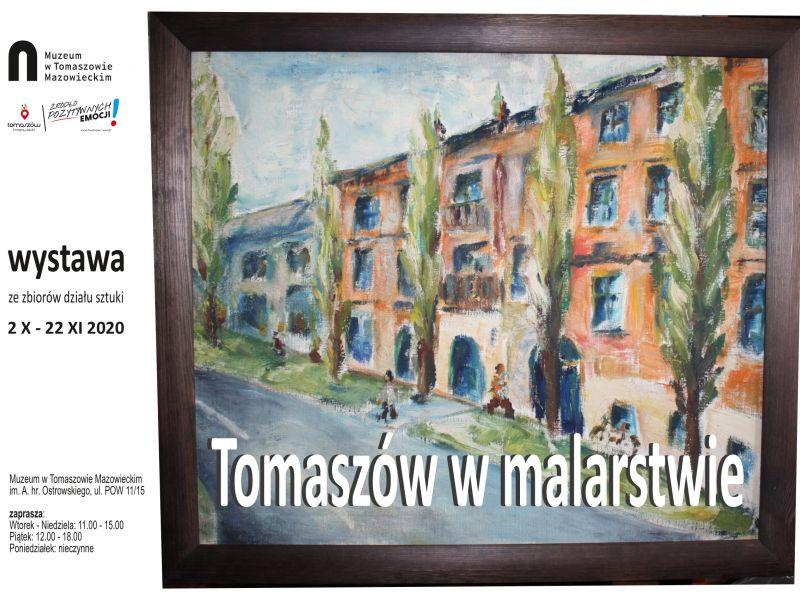 Plakat informujący o wystawie malarstwa, na plakacie namalowane kamienice, przed budynkami szpaler drzew i spacerujący chodnikiem ludzie.