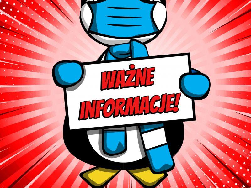 Grafka z pingiwnkiem trzymającym tabliczkę z napisem