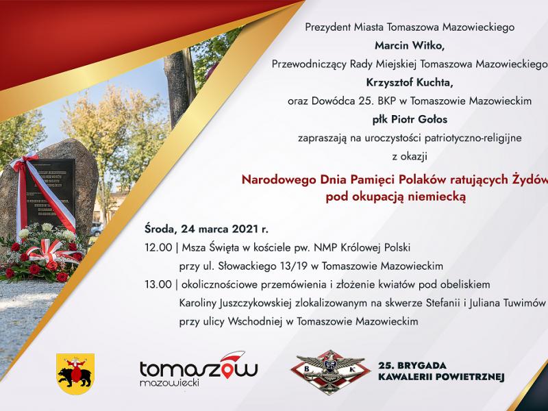 Na zdjęciu zaproszenie na uroczystość, na zaproszeniu foto obelisku Karoliny Juszczykowskiej, herb miasta Tomaszowa Mazowieckiego, logo Tomaszowa, logo 25. BKP