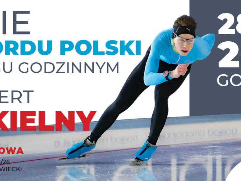 Na zdjęciu łyżwiarz Norbert Piekielny, który podejmie próbę bicia rekordu Polski w biegu godzinnym
