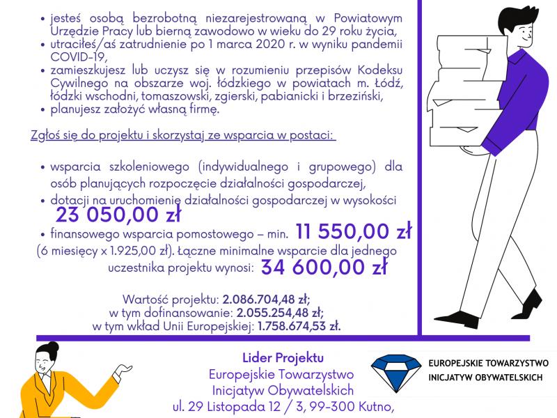Na zdjęciu plakat projektu unijnego dla przedsiębiorców, na plakacie informacje oraz rysunki postaci kobiety i mężczyzny