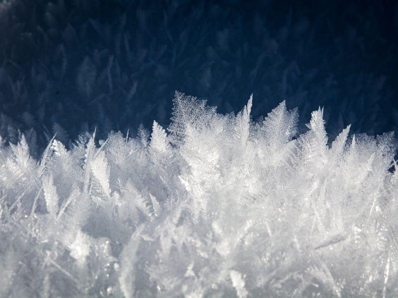 Na zdjęciu kryształki zamarznietego lodu
