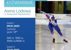 Na zdjęciu plakat Międzynarodowych Otwartych Zawodów Łyżwiarskich na Arenie Lodowej. Na plakacie zdjęcie łyżwiarki w trakcie wyścigu. Zawodniczka w kombinezonie koloru biało-niebieskiego. Ponadto na plakacie informacje dotyczące zawodów.